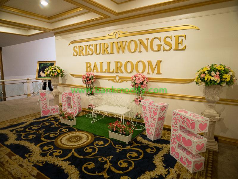 บริเวณทางเข้าห้องจัดเลี้ยงงานแต่งงาน จากบริเวณหน้าลิฟท์