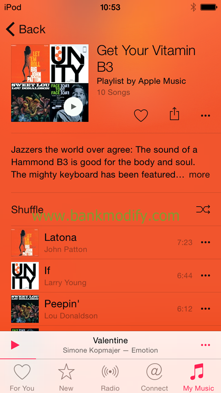 Get Your Vitamin B3 เป็น playlist ที่รวมเพลงที่เล่นด้วย Hammond B3